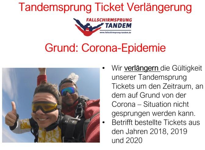 Tandemsprung Ticket Gueltigkeit wegen Corona