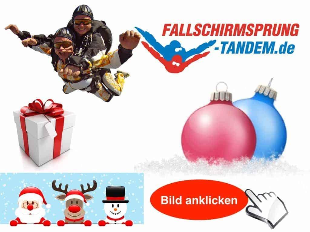 Weihnachtsgeschenk Fallschirmspringen - Tandemsprung Gutschein