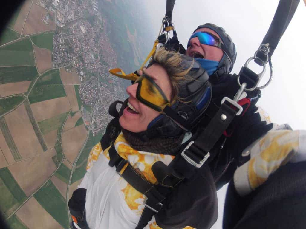 Fürth Kundin Fallschirmspringen Rothenburg Tandemsprung