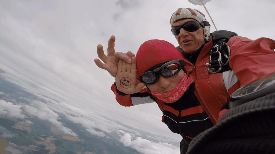 Roxana aus Berchtesgaden beim Tandemsprung Abenteuer