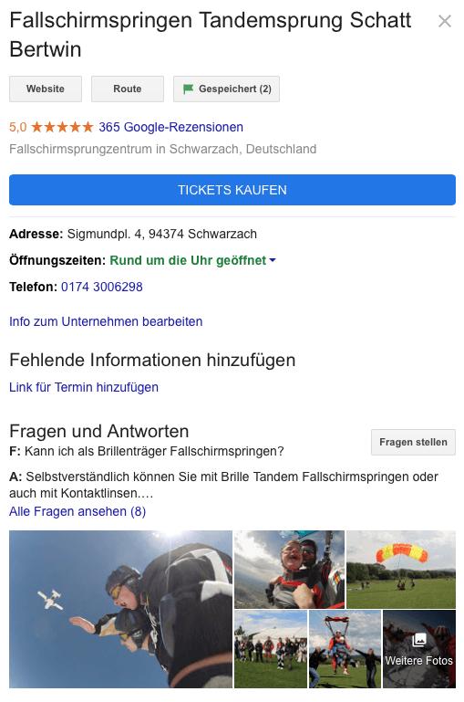 Bayern lokaler Tandemsprung Anbieter