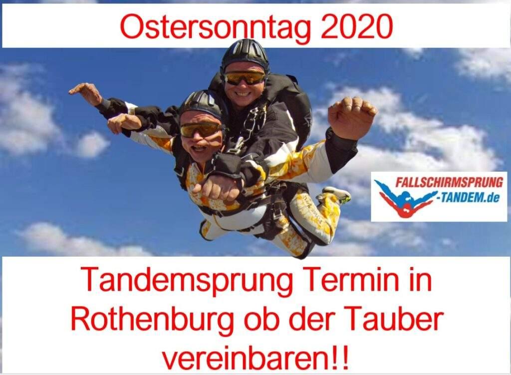 Ostersonntag 2020 Fallschirmspringen in Rothenburg ob der Tauber
