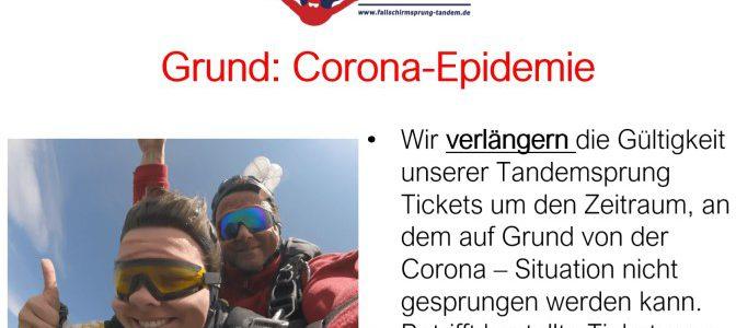 Verlaengerung der Tandemsprung Tickets