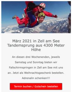 fallschirmspringen Zell am See 2021